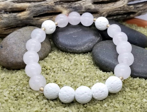 Women's Hand Crafted Rose Quartz Diffuser Bracelet