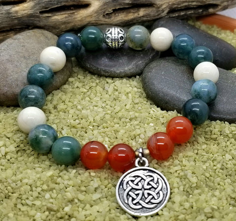 Hand Crafted Moss Agate, Riverstone and Red Carnelian Bracelet with Silver Celtic Knot Charm