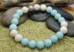 Zen Amazonite and Riverstone Hand Crafted Bracelet