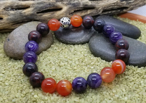 Hand Crafted Aries Energy Bracelet with Amethyst, Bloodstone and Carnelian