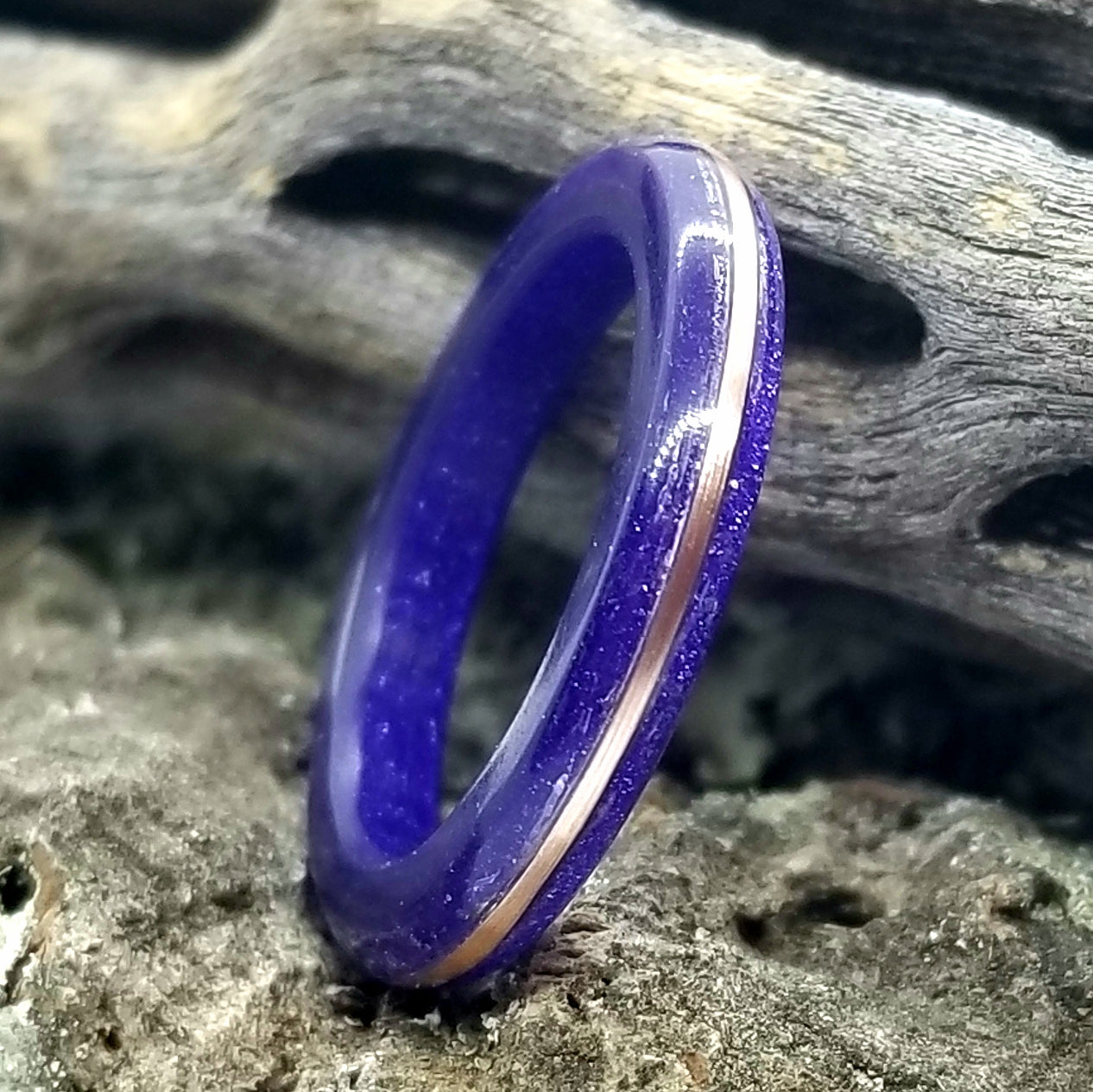 Purple Diamond Cast Acrylic Ring with Tinned Copper Inlay