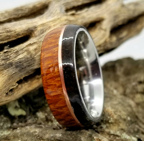 Lacewood and Ancient Ukrainian Bog Oak Burl Wood Ring with Tinned Copper Inlay and Stainless Steel Core
