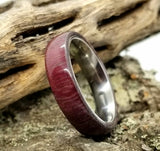 Purpleheart Wood with Polished Titanium Core Ring