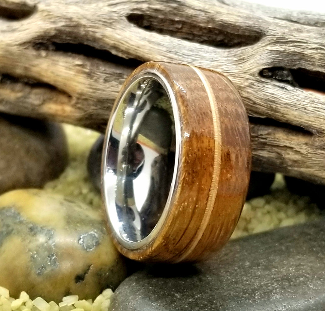 Reclaimed Balkan Wine Cask and Maple Wood Stainless Steel Core Ring