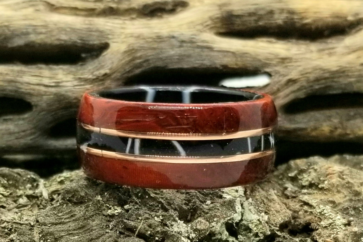 African Padauk Wood with White Lightning Acrylic Inlay Liner and Tinned Copper Inlay