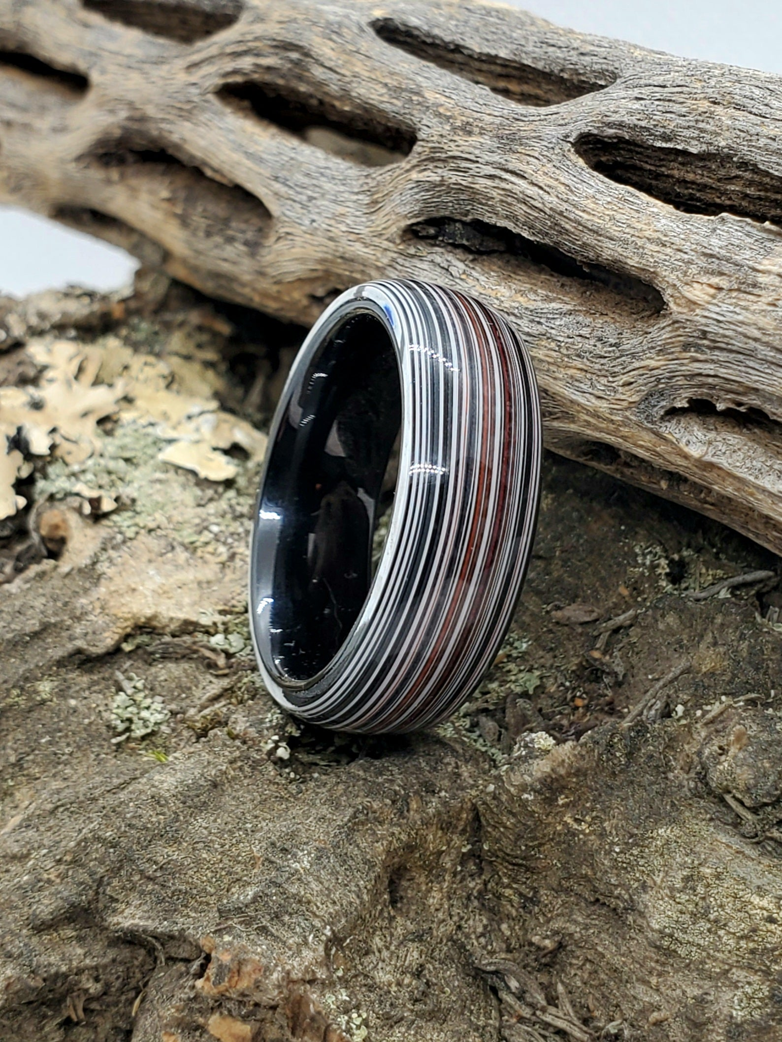 Authentic Chrysler Fordite and Black Ceramic Core Ring