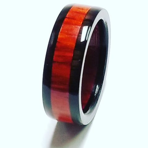 African Blackwood and Padauk Wood Ring