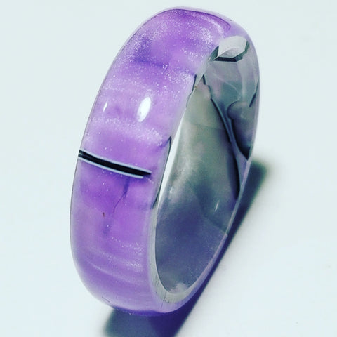 Ethereal Purple and Silver Shadow Acrylic Ring