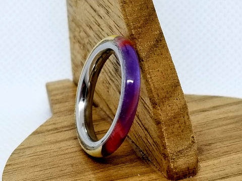 Hybrid Acrylic and Russian Olive Burl Wood Stainless Steel Core Ring