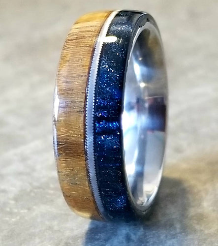 Teak Wood and Oil Slick Diamondcast Ring with Upcycled Guitar String Inlay Stainless Steel Core