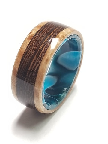 Figured Maple Burl and African Wenge Wood Ring with Oceanic Blue Acrylic Liner