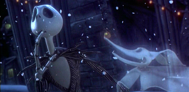 Jack Skellington and Zero from Tim Burton's The Nightmare Before Christmas film.