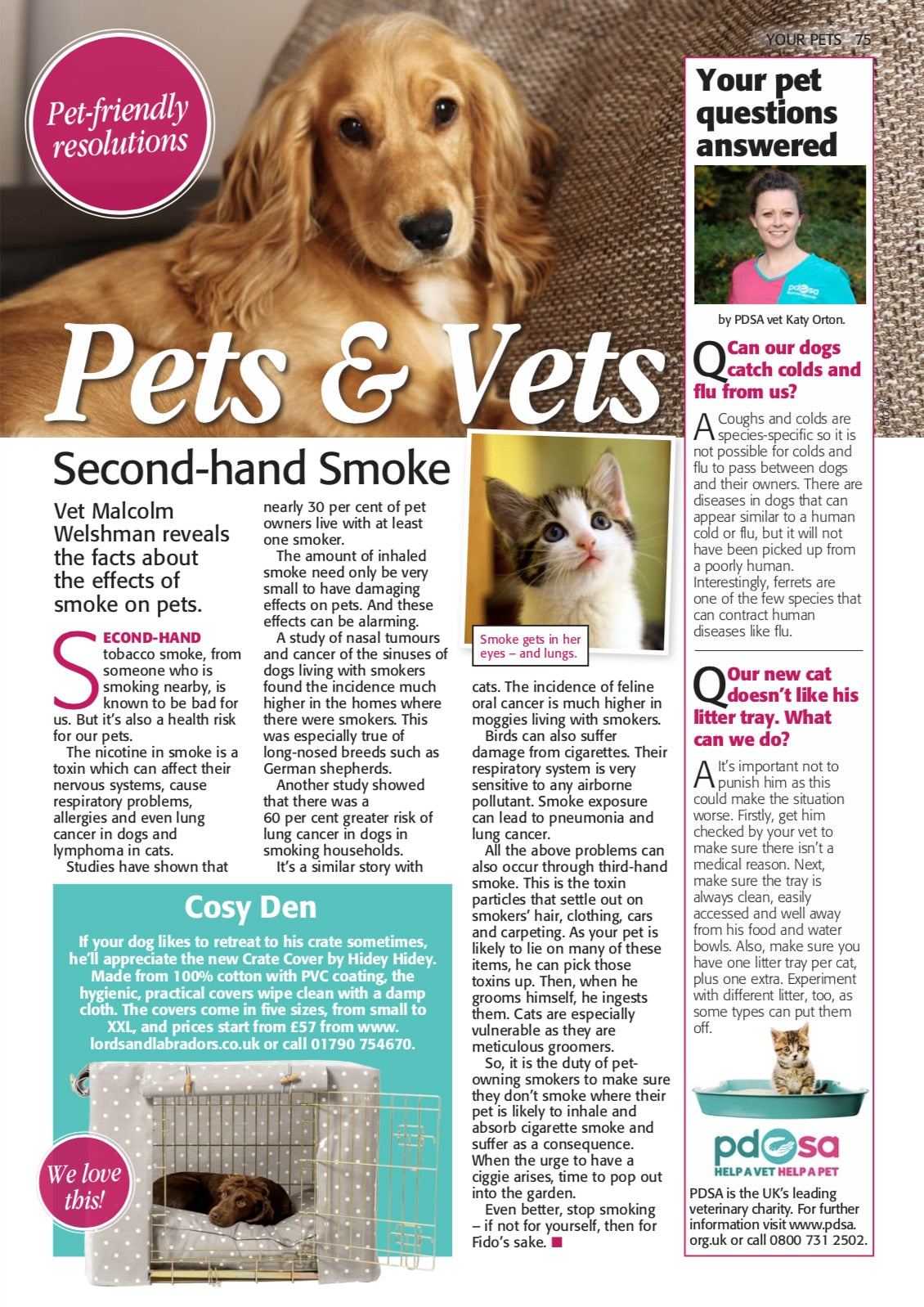 Pets & Vets magazine article featuring Lords & Labradors