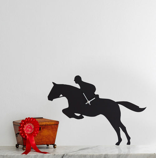 Show Jumper Clock by The Labrador Co - clock depicting a show jumper jumping a fence