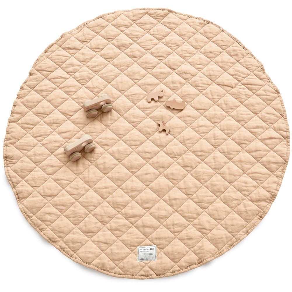 Warren Hill Oat colour French Flax Linen Quilted Playmat. Stonewashed, hypoallergenic, durable, sustainable, neutral.