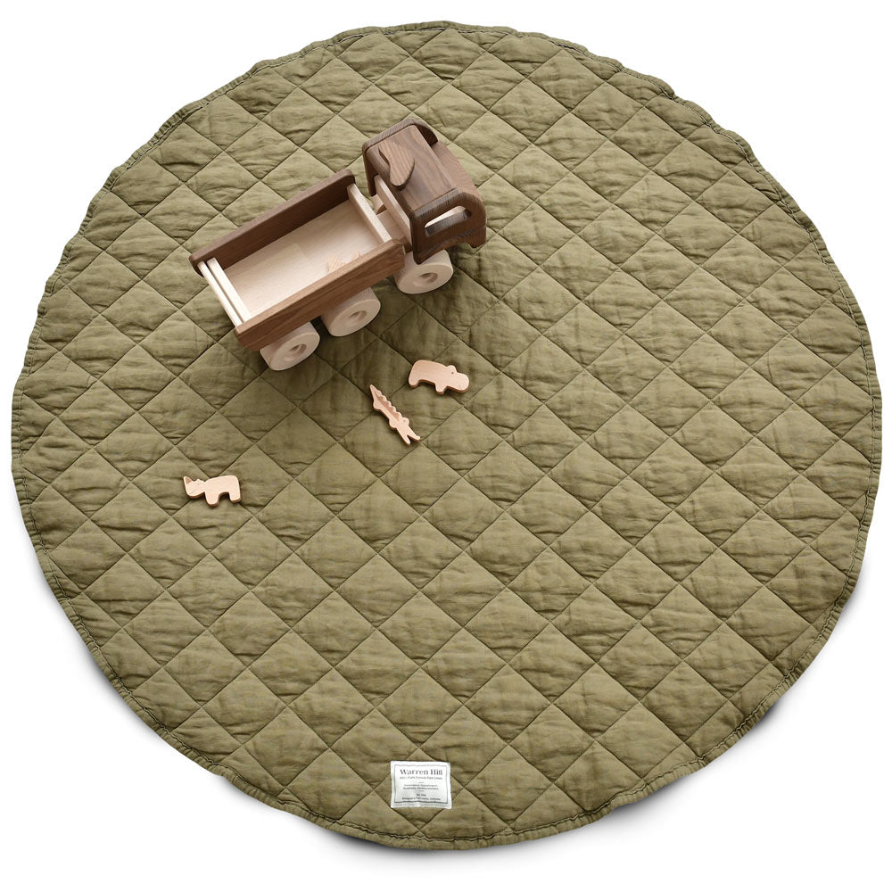 Warren Hill Olive colour French Flax Linen Quilted Playmat. Stonewashed, hypoallergenic, durable, sustainable, neutral.