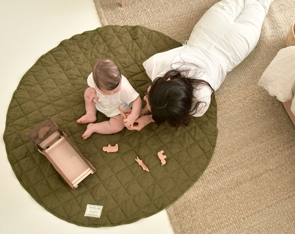 Warren Hill French Flax Linen Quilted Playmat. Breathable and durable