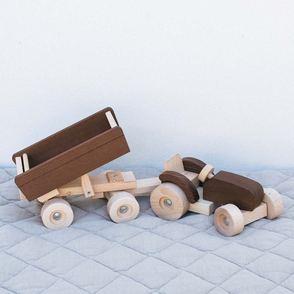 Warren Hill Goki Nature Tractor with trailer Wooden Toys