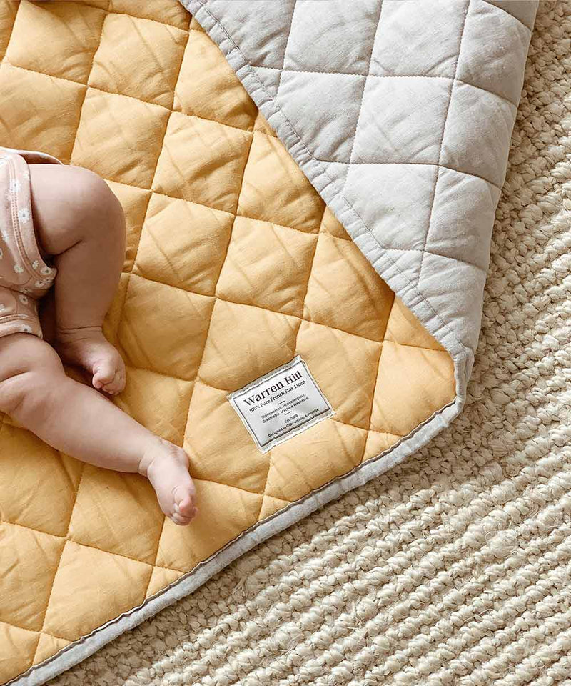 Quilted Linen Baby Play Mat - Sunflower Square