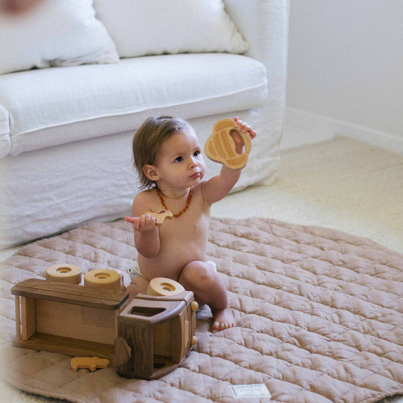 Quilted Linen Baby Play Mat - Chestnut
