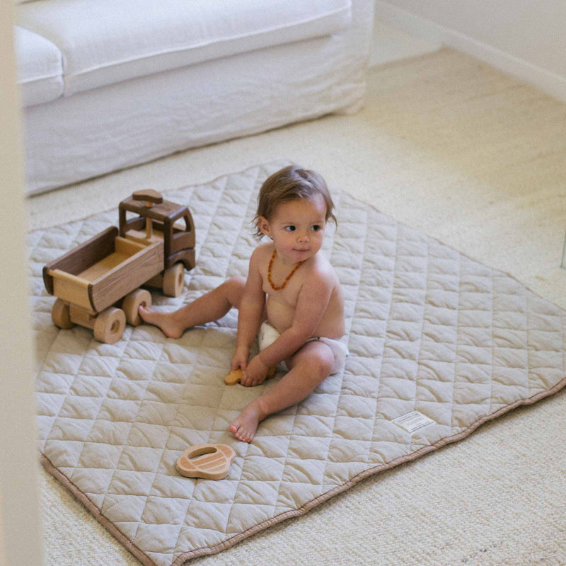 Warren Hill Linen Baby Play Mat Square | Natural & Chestnut Colour