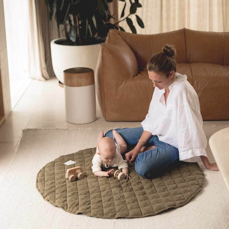 Warren Hill Soft Linen Baby Play Mat | Olive Colour
