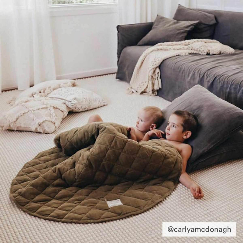 Warren Hill Soft Linen Baby Play Mat | Olive Colour | carlyamcdonagh
