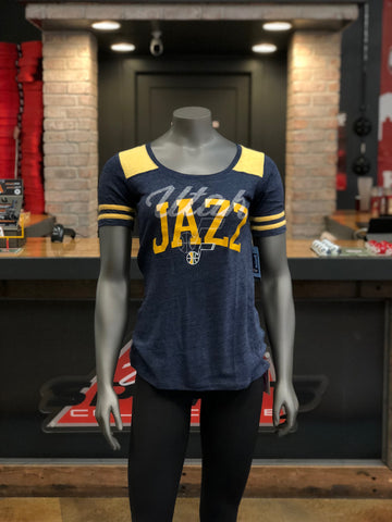 Jazz Glitter Stripes Sleeve BL/YL - Utah Sports Collective