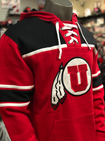 Utah Utes Colosseum Mens Red Skinner Hockey Pullover Drum And Feather