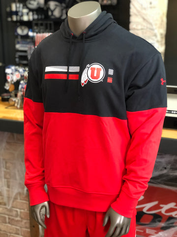 Utah Utes Under Armour Mens Red And Black Pique Hoodie Drum And Feather