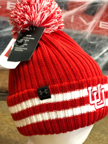 Utah Utes Under Armour Fundamental Red Pom Beanie UU