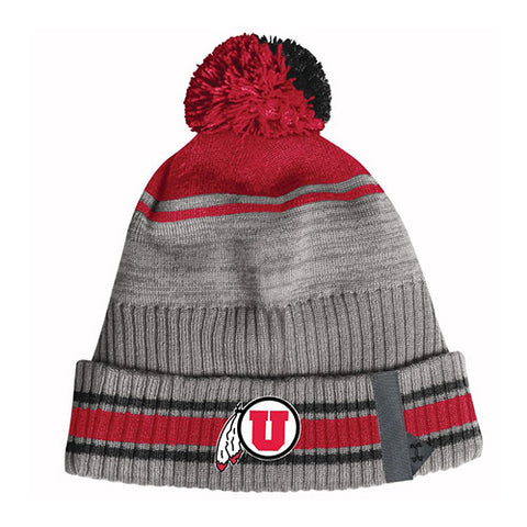 Utah Utes Under Armour Sideline Grey Pom Beanie Drum And Feather