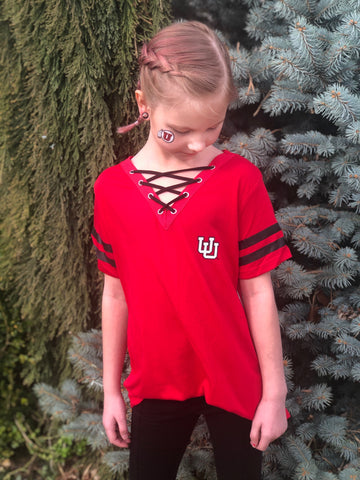 Utah Colosseum Girl's Red UU Lace Up Tee - Utah Sports Collective