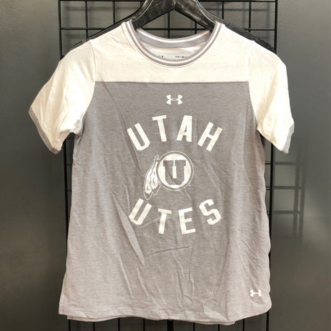 Utah UA Girls Varsity Pinhole Tee Steel - Utah Sports Collective