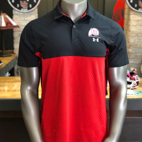 Utah Utes Under Armour Red Black Tour Blocked Polo Drum And Feather