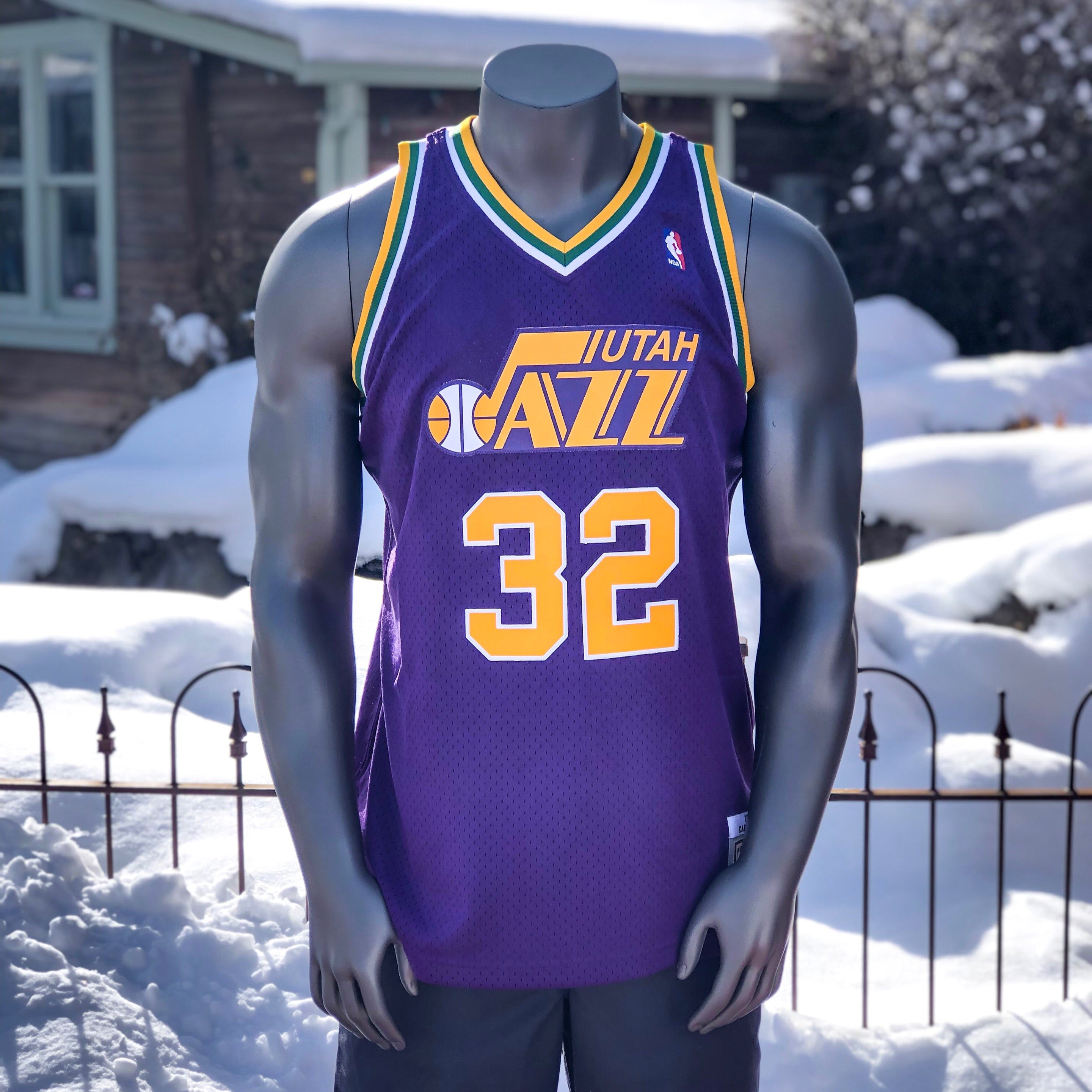 newest 9855e bcd64 Jazz Mitchell And Ness Purple Karl Malone Throwback Jersey