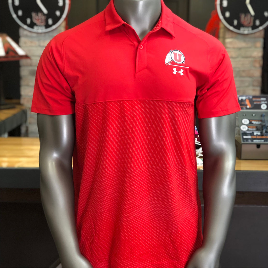 Utah Utes Under Armour Red Tour Blocked Polo Drum And Feather