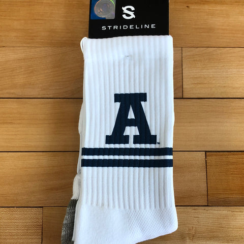 USU Strideline White A sock - Utah Sports Collective