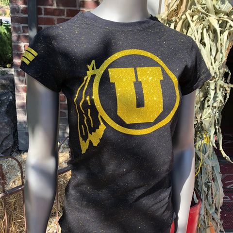 Utah Gold Glitter Women's Tee - Utah Sports Collective