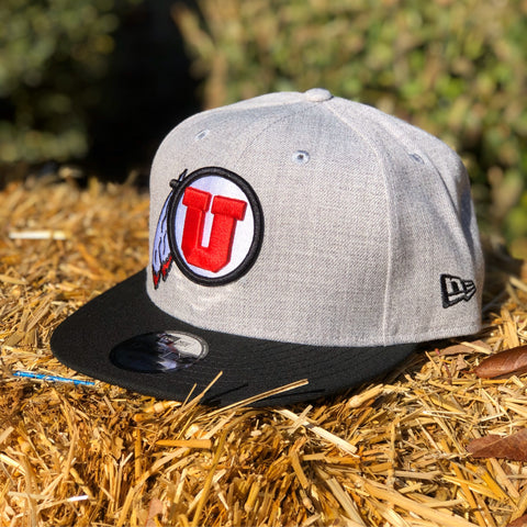 Utah Utes New Era 950 Heather Grey Black Bill Drum And Feather SnapBack