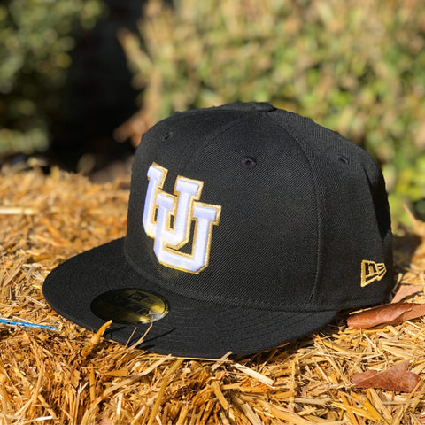 Utah Utes New Era 5950 Black White/gold UU Hat
