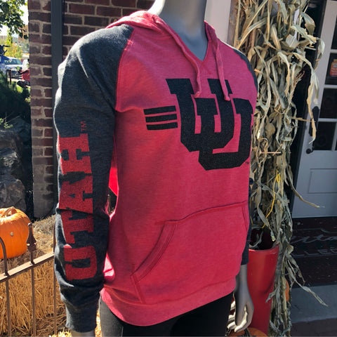 Utah Women's 2tone Hoodie UU Glitter - Utah Sports Collective