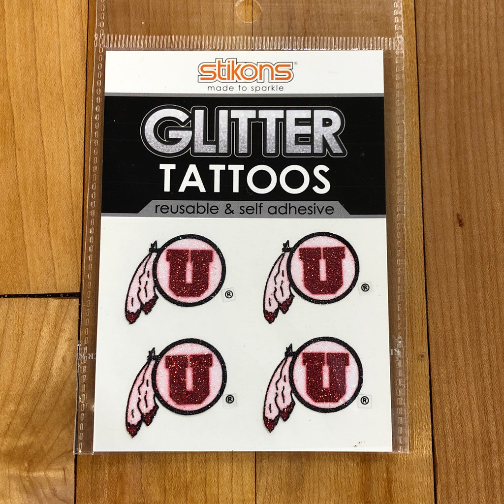 Utah Glitter Tattoos Drum and Feather Face Stickers - Utah Sports Collective