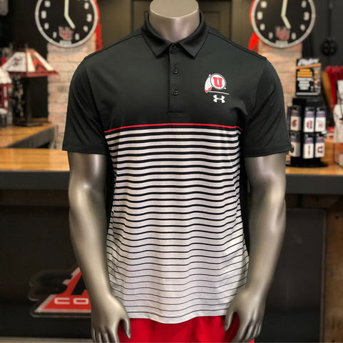 Utah Utes Under Armour Black Pinnacle Polo Drum And Feather