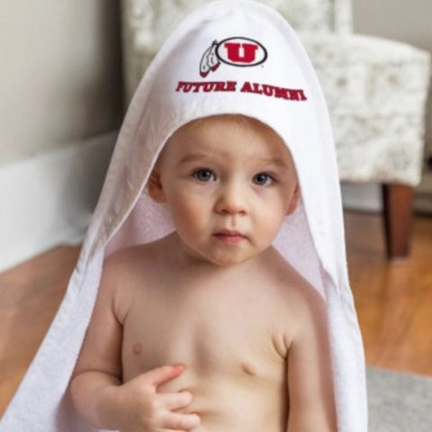 Utah Utes White Hooded Baby Towel Future Alumni Drum And Feather