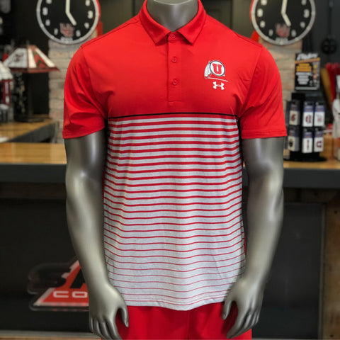 Utah Utes Under Armour Red Pinnacle Polo Drum And Feather