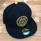 Jazz New Era 5950 hat Black And Yellow fitted - Utah Sports Collective