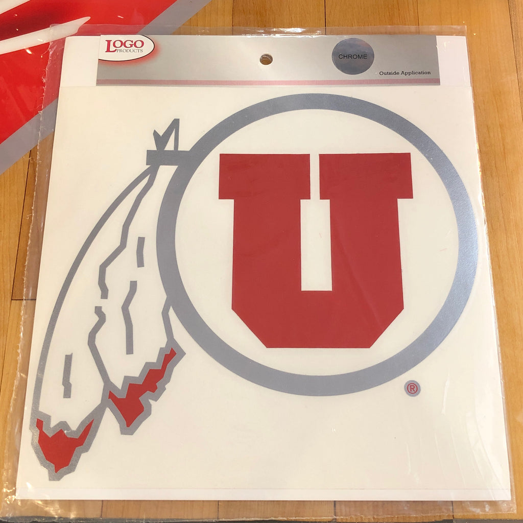 Utah Logo Chrome Red DF Decal 9""