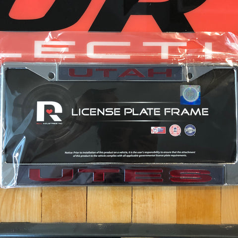 Utah Laser Chrome Frame (black/red Ltr) - Utah Sports Collective