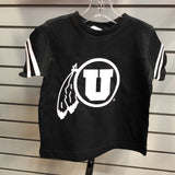 Utah Drum and Feather Football Jersey Black Toddler T shirt - Utah Sports Collective